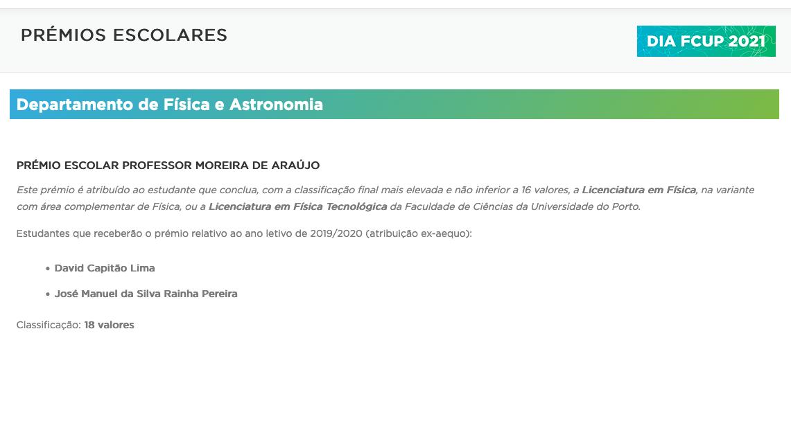 2019/2020 Prémio Escolar Prof. Moreira de Araújo